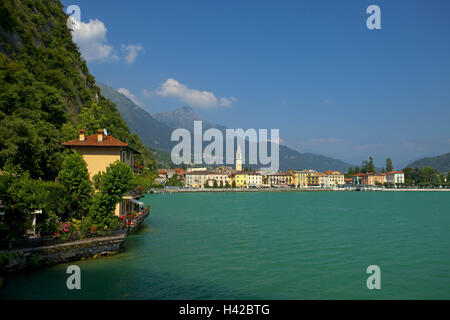 Italy, Lake Lugano, Porlezza, local view, Oberitalien, town, houses, residential houses, church, villa, mountain - Stock Photo