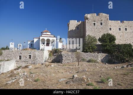 Castle Logothetis, Pythagorion, island Samos, Mediterranean island, Greece, Europe, - Stock Photo