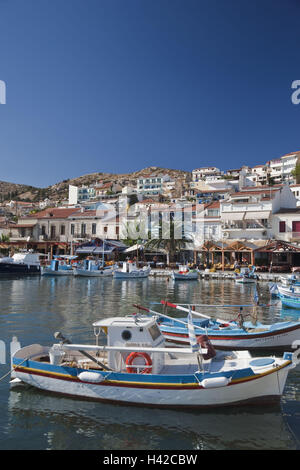 Fishing boats, harbour, Pythagorion, island Samos, Mediterranean island, Greece, Europe, - Stock Photo