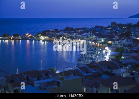 Evening mood, harbour, Pythagorion, Samos Island, Mediterranean island, Greece, Europe, - Stock Photo