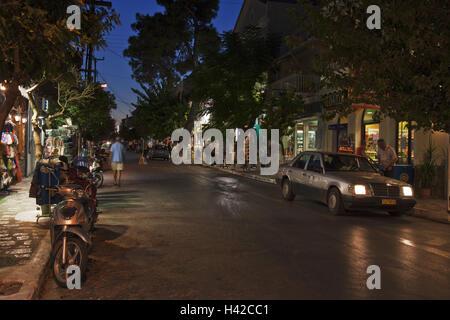 Evening mood, street, Pythagorion, island Samos, Mediterranean island, Greece, Europe, - Stock Photo