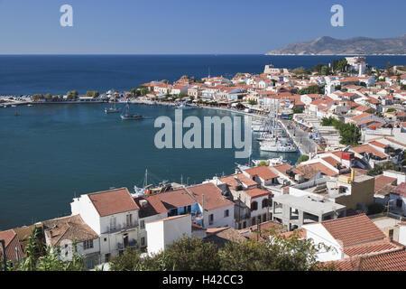 Harbour, Pythagorion, island Samos, Mediterranean island, Greece, Europe, - Stock Photo