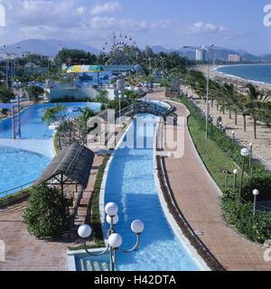 Vietnam, Nha Trang, town view, beach, promenade, swimming-pool, pool attachment South-East Asia, town, view, coast, - Stock Photo