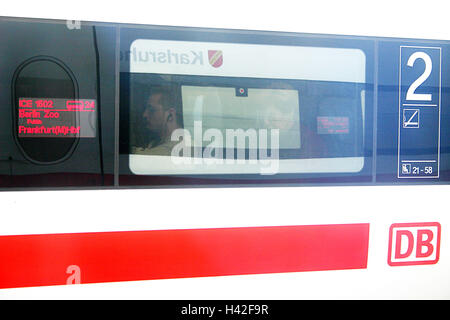 Railway station, platform, trains, windows, mirroring, passenger only editorially central station, intercity express - Stock Photo
