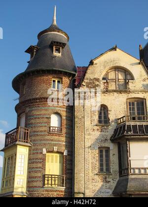 Mers-les-Bains, old villa, Somme, Picardie, Hauts-de-France, France - Stock Photo