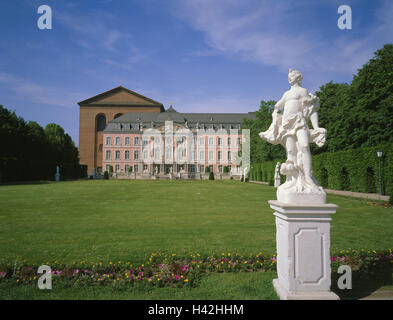 Germany, Rhineland-Palatinate, Trier, electoral palaces, basilica, palace garden, summer, Europe, town, palace, - Stock Photo