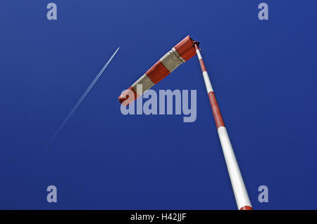 Windsock, heaven, airplane, condensation trail, - Stock Photo