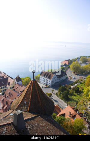 Germany, Baden-Wurttemberg, Lake District, Meersburg, Bodensee, Elevated view of town buildings by lake - Stock Photo