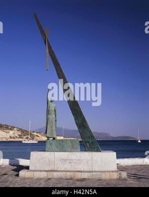 Greece, island Samos, Pythagorion, harbour, Phythagoras monument, Mediterranean island, coast, fishing harbour, - Stock Photo