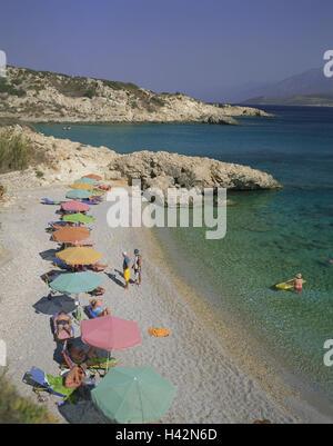 Greece, island Samos, Pythagorion, beach, Proteas Bay, bathers, Mediterranean island, bay, beach, bay, beach, person, - Stock Photo