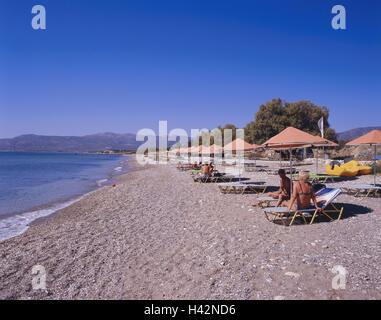Greece, island Samos, Pythagorion, beach, bathers, coastal region, gravel beach, person, tourist, beach holiday, - Stock Photo