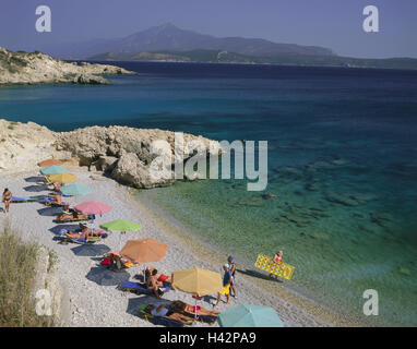 Greece, island Samos, Pythagorion, beach, Proteas Bay, bathers, Mediterranean island, bay, beach, bay, beach, person, - Stock Photo