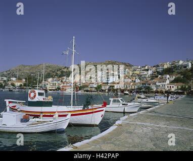 Greece, island Samos, Pythagorion, harbour, Mediterranean island, coast, local view, houses, residential houses, - Stock Photo