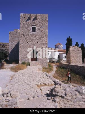 Greece, island Samos, Pythagorion, castle Logothetis, tourist, Mediterranean island, castle, castle grounds, structure, - Stock Photo