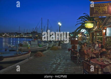 Evening mood, harbour, Pythagorion, island Samos, Mediterranean island, Greece, Europe, - Stock Photo