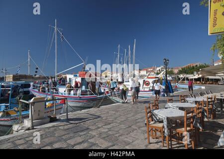Harbour promenade, Pythagorion, island Samos, Mediterranean island, Greece, Europe, - Stock Photo