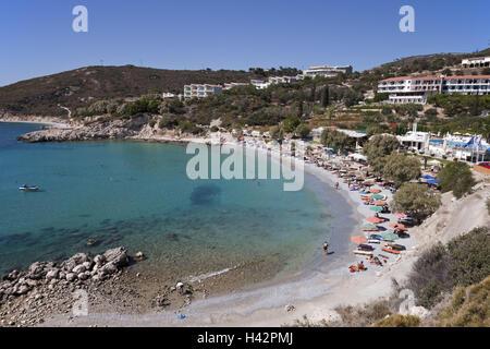 Beach, Glicorisa Beach, Pythagorion, island Samos, Mediterranean island, Greece, Europe, - Stock Photo