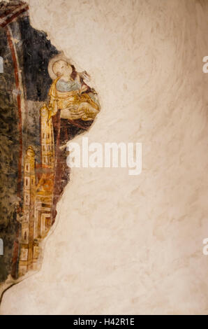part of an old fresco on a wall - Stock Photo