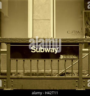 USA, New York city, railing, sign, Subway, - Stock Photo