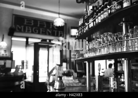 Italy, Milan, bar Magenta, detail, counter, b/w, , - Stock Photo