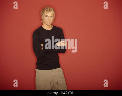 Man, young, blond, poor crosses,  Half portrait  Series, men's portrait, 20-30 years, hairdo, fashionably, Shirt, - Stock Photo
