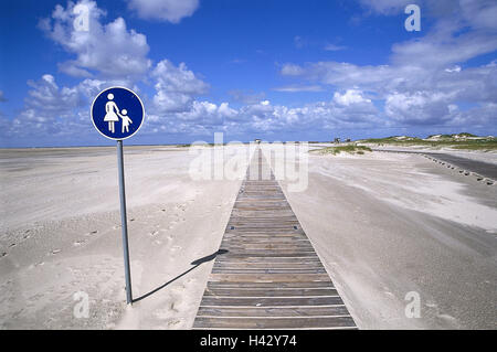 Germany, Schleswig - Holstein, St. Peter Ording, beach, wooden jetty, road sign, walkway, Europe, sandy beach, sign, - Stock Photo
