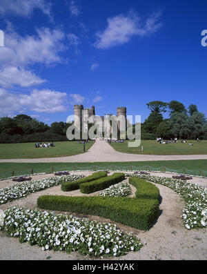 Ireland, Dublin, Malahide Castle, castle grounds, flowerbeds, tourists, Europe, Irishman's country, lock, castle - Stock Photo