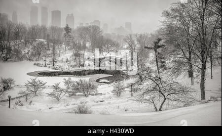 Winter snow storm in Central Park with view on the Gapstow Bridge and the frozen Pond. Manhattan, New York City - Stock Photo