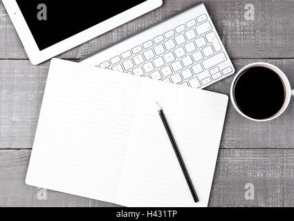 Keyboard with pencil and  coffee cup and tablet on office desk - Stock Photo