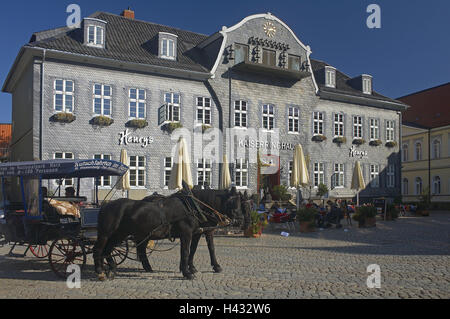 Germany, Lower Saxony, Harz, Goslar, marketplace, emperor's ring house, horse's carriage, town, Old Town, city centre, - Stock Photo