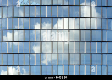 Glass front, reflecting, cloudy sky, - Stock Photo