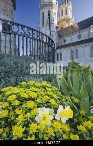 Austria, Lower Austria, cloister new castle, Augustinian's pen, outside, detail, flowerbed, - Stock Photo