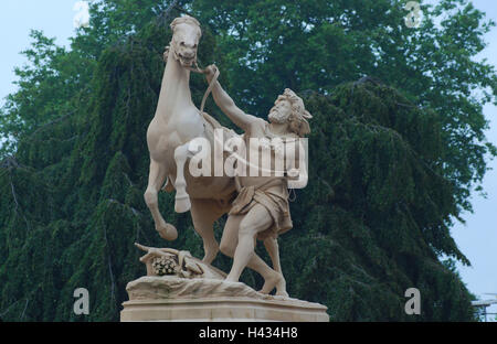Germany, Mecklenburg-West Pomerania, Schwerin, castle bridge, sculpture, Obotrit his horse restraining, - Stock Photo