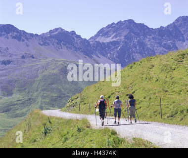 Switzerland, Arosa, mountain landscape, Arlenwaldweg, wanderer, back view, Graubuenden, mountains, alp, alpine hut, - Stock Photo