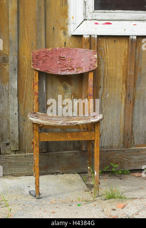 wooden chair, old, scales, outside, Juodkrante, national park health resort broad bay bar, Lithuania, - Stock Photo