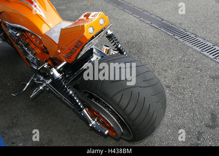 Tuning motorcycle, tuner GP, detail, rear tyre, Überbreite, - Stock Photo
