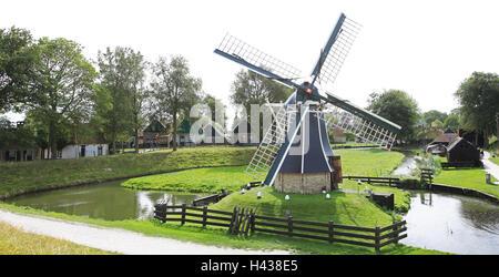The Netherlands, Noordholland, Enkhuizen, Zuiderzee museum, windmill, - Stock Photo