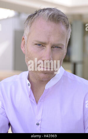 Man, middle old person, seriously, portrait, model released, - Stock Photo