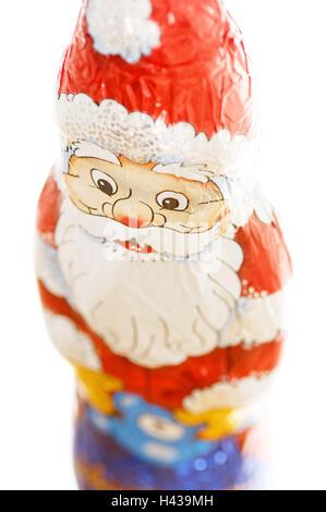 Chocolate Santa Claus, detail, blur, - Stock Photo