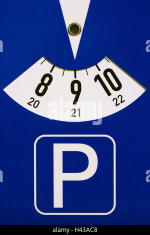 Parking disc, Stilllife, material recording, time, clock, time, date, parking, gone over, blue, park time, duration, - Stock Photo