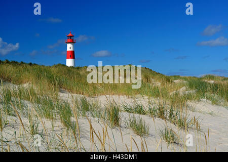 List West Lighthouse in the sand dunes, List, Sylt, North Frisian Islands, North Frisia, Schleswig-Holstein, Germany - Stock Photo