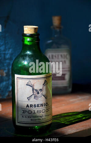 old green glass bottle labelled with arsenic poison and  skull and bones stands on a shelf. Another poison bottle - Stock Photo
