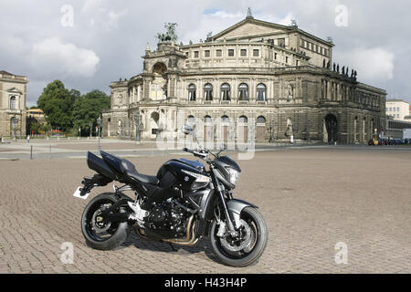 Dresden, Semperoper, motorcycle, Suzuki, B King, no property release Germany, space, building, opera building, B - Stock Photo