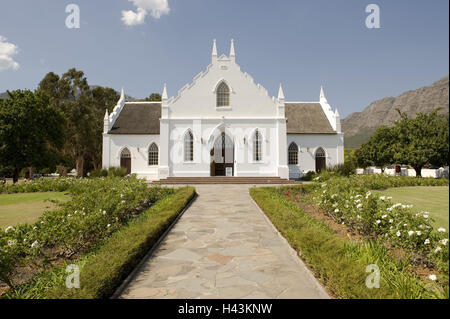 South Africa, Western Cape, Franschhoek, church, - Stock Photo