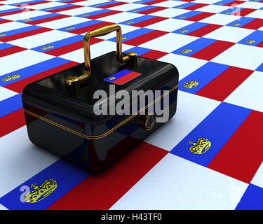 Cashbox, black, coats arms, Liechtenstein, cash box, lockable, banknotes, money, cash, retention, icon, black money, - Stock Photo