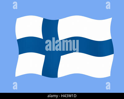 Computer graphics, national flag, Finland, flag, flag, state flag, state figure, blow, in Finnish, Scandinavia, - Stock Photo