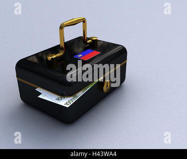 Cashbox, black, coats arms, Liechtenstein, euronotes, cash box, lockable, banknotes, money, cash, retention, icon, - Stock Photo