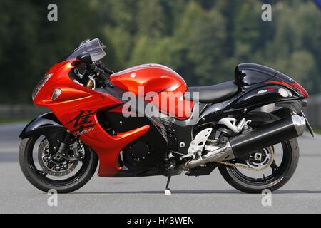 Speed bike, Suzuki Hayabusa, GSX-R 1300, red, preview, street, GSX-R 1300, motorcycle, standard, Suzuki, stand, - Stock Photo