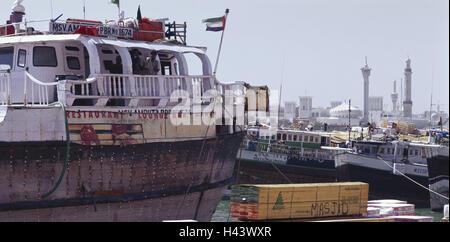 United Arab Emirates, Dubai, Dhaus, loading, background, borer Dubai, VAE, town, part town, Old Town, Old Town fourth, - Stock Photo