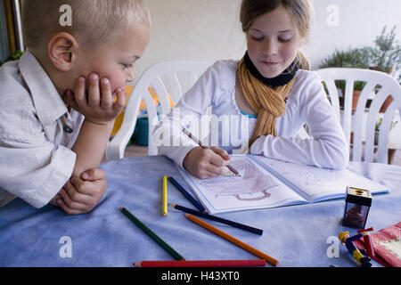 Terrace, siblings, paint, people, children, girls, boy, brother, sister, activity, painting notebook, sign, paint, - Stock Photo